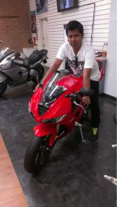 Joseph on a Triumph Daytona 675