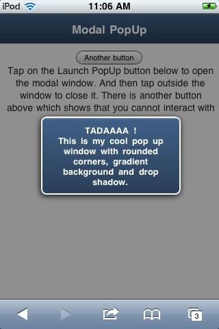 Modal PopUp window